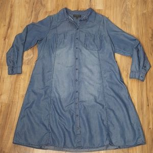 Lane Bryant Long Sleeve Chambray Dress